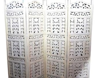 Hand Carved Room Divider, Bohemian Room Divider, Room Divider Screen, Folding Screen Room Divider, Folding Room Divider, Wood Room Divider