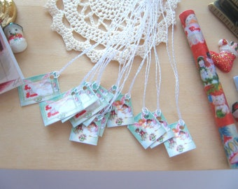 dollhouse christmas gift parcel tags angel  12th scale miniature