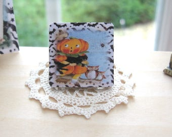 dollhouse halloween picture wooden plaque 12th scale miniature