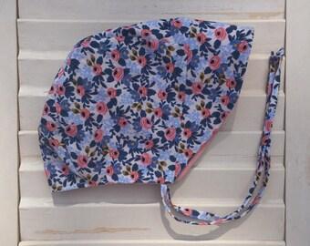 Rifle Paper Co. Fabric | Cotton + Steel | Baby Sun Bonnet - Gift | Shower | Blue  -  Les Fleurs Rosa Periwinkle - 3 sizes