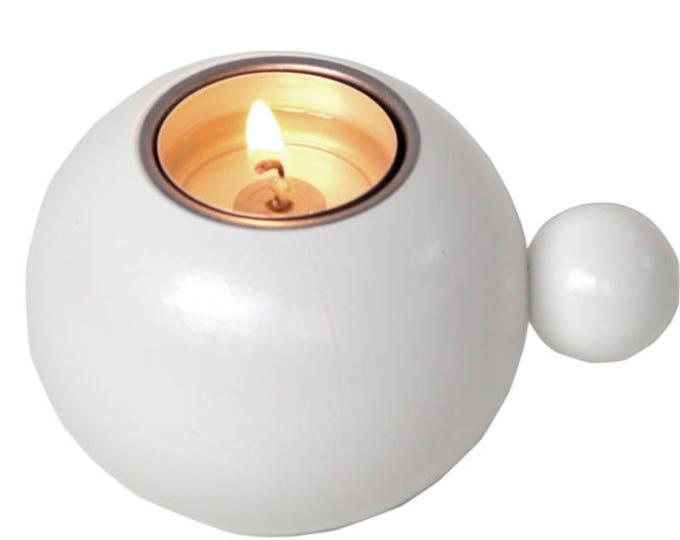 Scandinavian Modern Wood Candle Holder White Made in Sweden