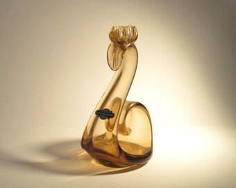 Skrdlovice Milena Veliskova 5327 -- mid-century swan art glass candleholder with rare Skrdlovice label -- Czech art glass