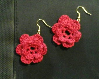 Croched thread Rose earrings