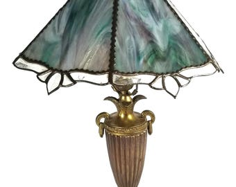 Vintage Tiffany Style Stained Glass Lamp