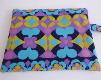 Zip pouch, clutch with strap, device case, handmade from vintage fabric