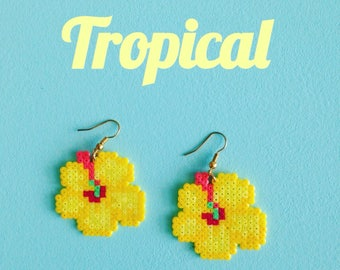 Tropical flower earrings yellow