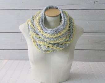 Infinity Scarf Hand Crocheted Circle Scarf Yellow and Gray Loop Scarf