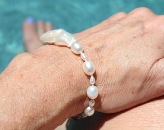 Gorgeous Freshwater Pearl Bracelet with Large Centerpiece Baroque Pearl