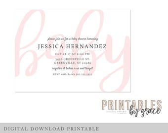 BABY SHOWER INVITITATION Script digital download printable invite party pdf elegant