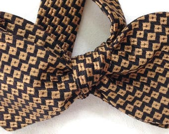 Silk Bow Tie for Men - Cooper - One-of-a-Kind - Handcrafted, Self-tie - Free Shipping