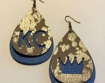KC leather earrings.  LOVE your Royals.  Blue/gold splatter teardrop.  KC and crown cutout.