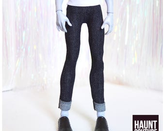 """Monster Doll Haunt Couture Boys """"Street Manster Cuffed Black Jeans"""" high fashion doll clothes overalls 