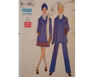 """Vogue #7666  Vintage 60's Double Breasted Peacoat Jacket, Skirt and Trouser Pants Sewing pattern Size UK 16 Bust 38"""""""
