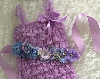 Lavender and Periwinkle Romper Set