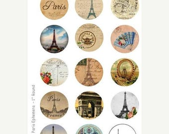 SALE- Paris Ephemera - 4 x 6 Digital Collage Sheet  - 1 inch Round Circles - INSTANT DOWNLOAD