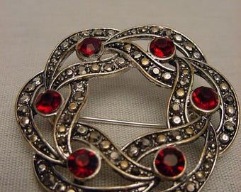 Silvertone Ruby and Marcasite Rhinestones Circle Brooch Pin