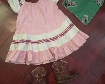 3pc Child vintage Lot! Squaw dress + boots + bandana