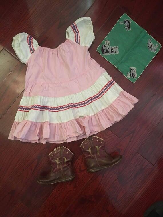 3pc Child vintage Lot! Squaw dress + boots + bandana