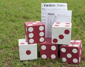 Giant Dice, Giant Yahtzee, Yardzee, Yard Dice, Lawn Dice, Yahtzee, Outdoor Game, Tailgating, OU, Wedding Game, Dice, Farkle, Yard Game