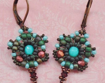 Vintage beaded earrings in blue, green and red