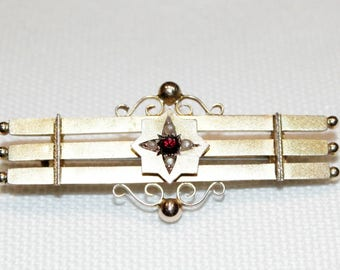9ct Yellow Gold Garnet and Seed Pearl Bar Brooch