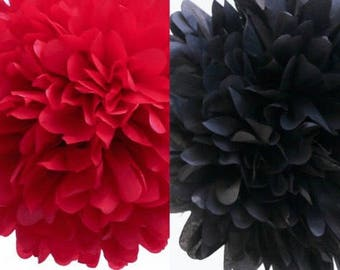 18pcs Mixed Size Black Red Tissue Paper Pom Poms Wedding Hen Party Engagement Anniversary Bridal Shower Birthday Housewarming Decorations