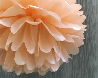 6x Peach Tissue Paper Pom Poms Baby Shower Birthday Anniversary Party Engagement Wedding Sweets Bar Backdrops Decorations