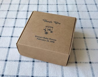 40x Nursery Mobile Kraft Paper Baby Shower Favour Boxes • Baptism Christening Custom Personalised Thank You Gift Boxes