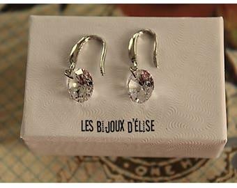 Clear Crystal Round Earrings Crystal Earrings Silver Tone (BO04) - Bridal Earrings