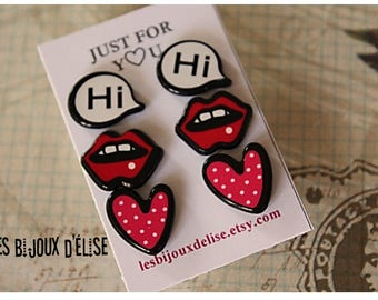 3 Pairs of Comic Books Studs Hi Studs Lips Earrings Heart Bubble Speech (BO12)