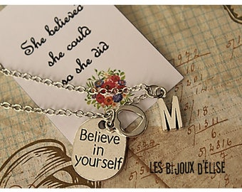 Believe In Yourself Charms Necklace For Her Mom, Daughter, Sister, Grandma Antique Silver (CO79)
