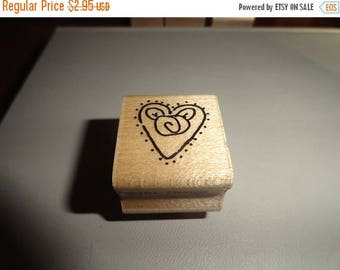 50% OFF Heart stamp 1 by 1 inch Vintage Wooden rubber stamp