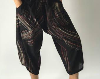 HC0515 Elastic Waist Samurai Pants Unisex Elastic Waist , ninja pants