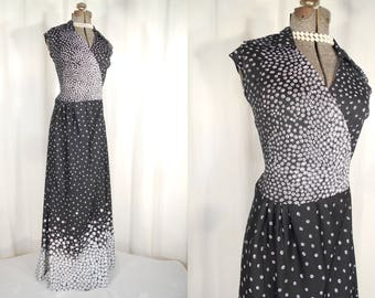 Vintage 1960s Maxi Dress - 60s Plus Size Wrap Dress, XL Boho Maxi