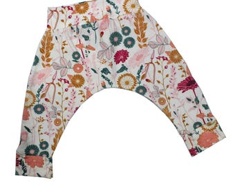 Wildflower Harem Pants, Baby and Kids Harem Pant Leggings, Be a Wildflower, She's a Wildflower, Grow Wild, Floral Yoga Pants