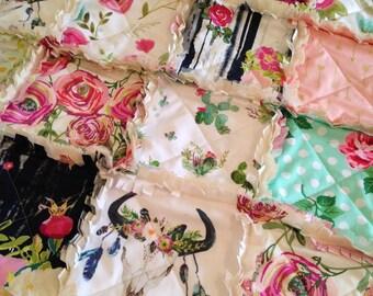 Crib Rag Quilt, Cow Skull Navy Pink Aqua Arrows Feathers Cow Skull Baby Quilt Southwest Roses Cactus Bohemian Girl Crib Bedding Shabby