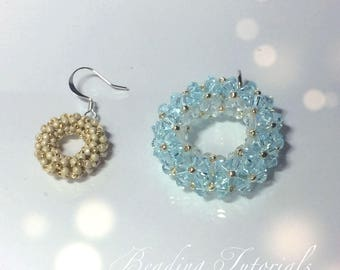 Tutorial Chnille donut pendant and earrings, Beading pattern