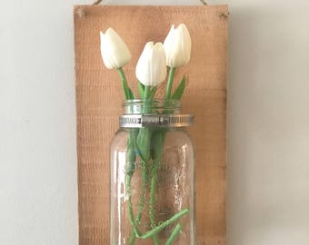 Rustic farmhouse, mason jar wall hanging