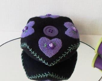 Handmade Baby Biscornu Pincushion Felted Wool Purple Hearts on a Black Biscornu Pincushion
