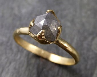 Fancy cut salt and pepper Diamond Solitaire Engagement 18k yellow Gold Wedding Ring Diamond Ring byAngeline 1053