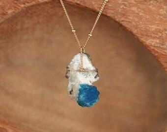 Cavansite necklace - crystal matrix necklace - mineral neckalce - pentagonite necklace - a bright blue cavansite on a 14k gold filled chain