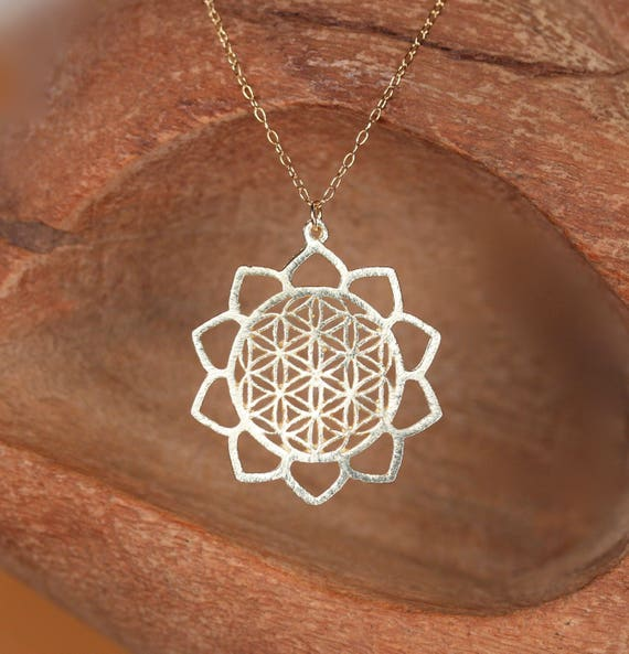 Flower of life necklace - gold mandala necklace - yoga jewelry