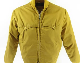 Vintage 60s Eddie Bauer Ski Jacket Mens L Down Puffy Yellow [H72I_1-12]