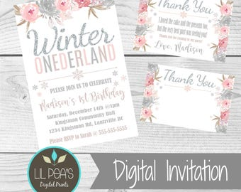 winter onederland birthday invitation 1st birthday printable invitation 1st birthday winter invitation floral - Winter Onederland Party Invitations