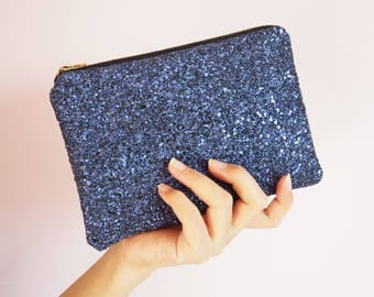 Indigo Glitter Makeup Bag, Indigo Glitter Cosmetic Bag, Indigo Zipped Bag, Sparkly Purple Makeup Bag, Dark Purple Cosmetic Bag, Indigo Bag,