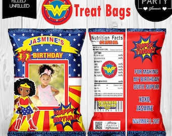 Supergirl Wonder Woman Superhero Theme Personalized Treat Popcorn Chip Bags  Favors Baby Shower 1st 2nd Girl Birthday