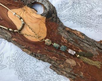 Green and Brown Boho Geode Necklace - Raw Ocean Jasper Tassel Necklace - Hippie Statement Gemstone Necklace