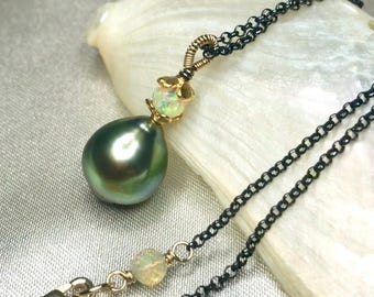 Green Tahitian Pearl with Ethiopian Opal Mixed Metal Modern Necklace