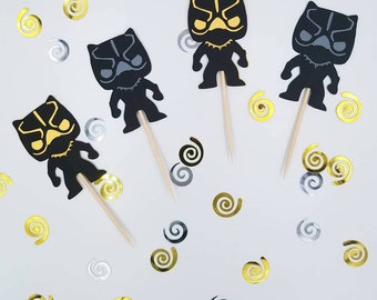 Marvel Black Panther Cupcake Topper, Black Panther Birthday, Black Panther, Black Panther Picks, Superhero Birthday, Set of 12