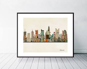 columbus ohio skyline .pop art city skylines. columbus city poster.home or nursery skyline posters.colorful city skyline decor.